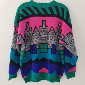 Retro 90's Knitted colorful Geometric Sweater
